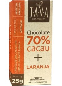 Chocolate 70% Cacau + Laranja Java Chocolates 25g