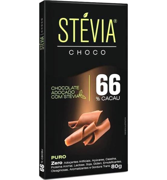 Chocolate Stévia Choco 66% Cacau Adoçado com Stévia Genevy 80g