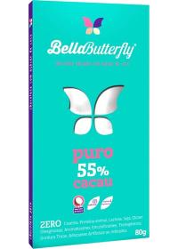 Chocolate BellaButterfly Puro 55% Cacau Adoçado com Açúcar de Coco Genevy 80g