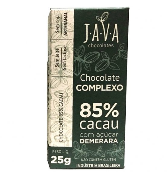 Chocolate Complexo 85% Cacau Intenso Java Chocolates 25g