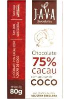 Chocolate 75% Cacau com Açúcar de Coco Java Chocolates 80g