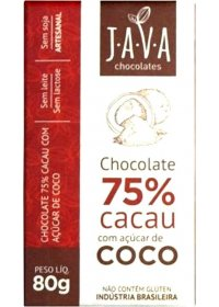 Chocolate 75% Cacau com Açúcar de Coco Java Chocolates 80g