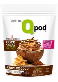 Chips de Coco Sabor Chocolate Qpod 40g