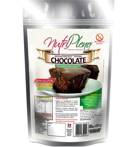 Mistura P/ Bolo Chocolate Integral S/ Açúcar Sem Glúten Nutripleno 400g