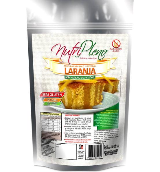 Mistura P/ Bolo Laranja Integral S/ Açúcar Sem Glúten Nutripleno 400g