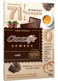 Chocolate 71% Cacau Sabor Café ChocoLife 25g