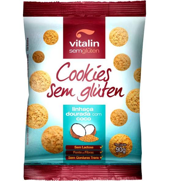 Cookie Sem Glúten Linhaça Dourada com Coco Vitalin 90g