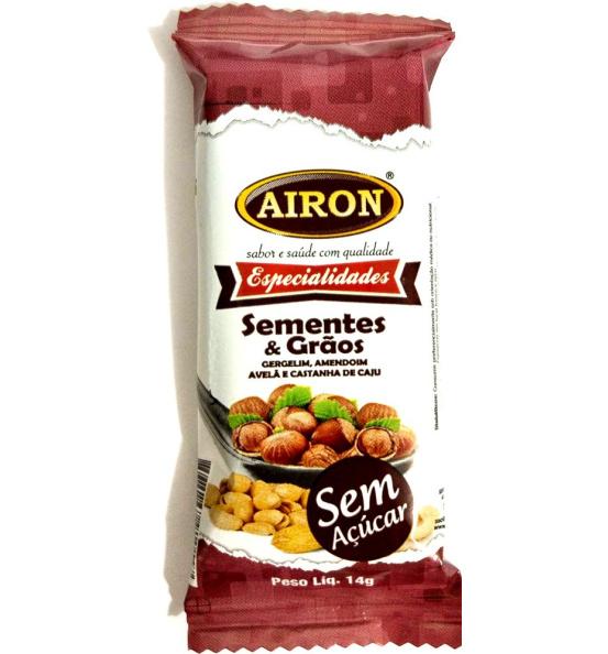 Barra Gergelim, Amendoim, Avelã e Cast. de Caju S/ Açúcar Airon 14g