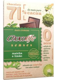 Chocolate 71% Cacau Sabor Matcha e Limão ChocoLife 25g
