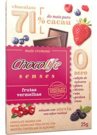 Chocolate 71% Cacau Sabor Frutas Vermelhas ChocoLife 25g