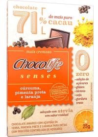 Chocolate 71% Cacau Sabor Cúrcuma, Pimentas Preta e Laranja ChocoLife 25g