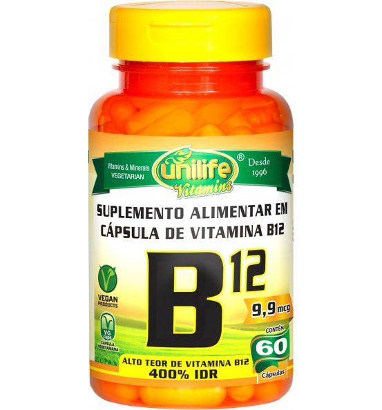 Vitamina B12 (Nova Dosagem) Cianocobalamina Unilife 60 Cápsulas de 450mg