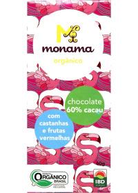 Chocolate Orgânico 60% Cacau C/ Frutas Castanhas e Frutas Vermelhas Monama 60g