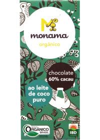 Chocolate Orgânico 60% Cacau ao Leite de Coco Monama 60g