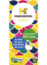 Chocolate Orgânico 45% Cacau ao Leite de Coco C/ Flocos de Arroz Monama 60g
