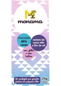 Chocolate 85% Cacau C/ Nibs e Flor de Sal Monama 25g