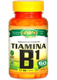 Vitamina B1 Tiamina Unilife 60 cápsulas de 500mg