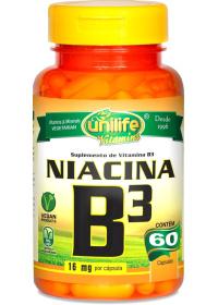 Vitamina B3 Niacina Unilife 60 cápsulas de 500mg