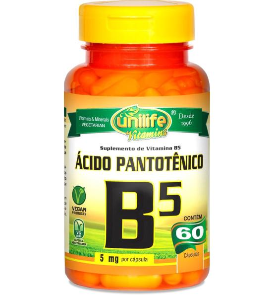 Vitamina B5 Ácido Pantotênico Unilife 60 cápsulas de 500mg