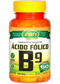 Vitamina B9 Ácido Fólico Unilife 60 cápsulas de 500mg