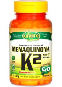 Vitamina K2 Menaquinona (MenaquinGold MK-7) Unilife 60 cápsulas de 500mg