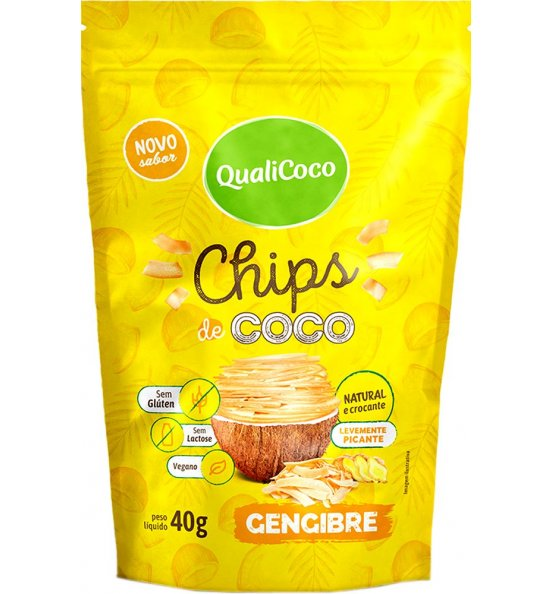 Chips de Coco Gengibre Qualicoco 40g