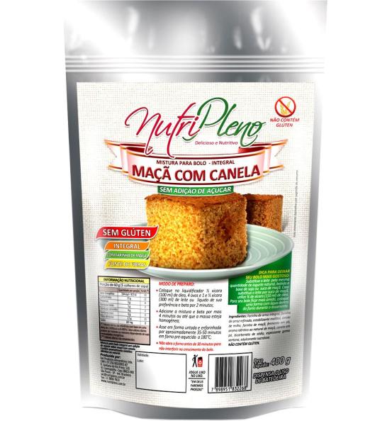 Mistura P/ Bolo Maçã C/ Canela Integral S/ Açúcar Sem Glúten Nutripleno 400g