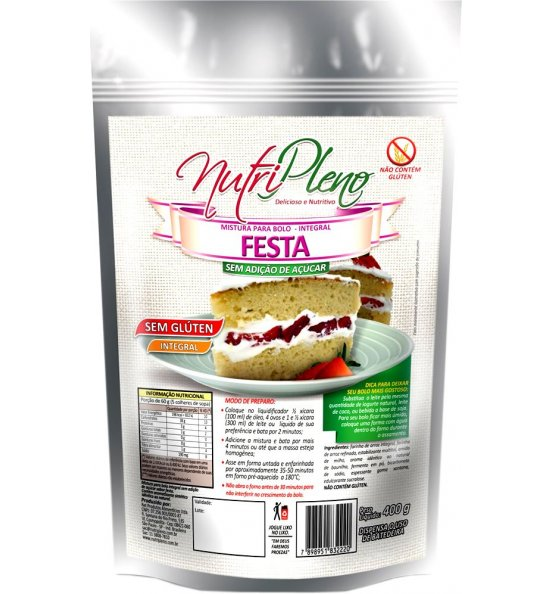 Mistura P/ Bolo de Festa Integral S/ Açúcar Sem Glúten Nutripleno 400g