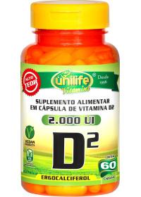 Vitamina D2 2000UI Unilife 60 cápsulas de 470mg