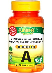 Vitamina A 8000 UI Retinol Unilife 60 cápsulas de 500mg