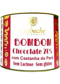 Bombom Chocolate 70% Cacau C/ Castanha do Pará Gobeche 10 tabletes de 12g