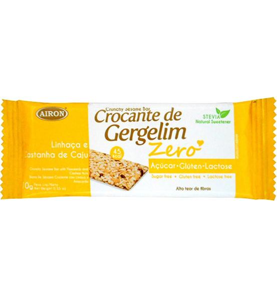 Crocante de Gergelim Linhaça e Castanha de Caju Zero Açúcar Airon 10g