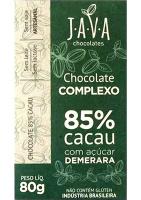 Chocolate Complexo 85% Cacau Intenso Java Chocolates 80g