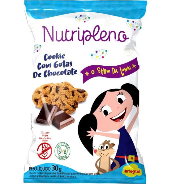 Cookie Gotas de Chocolate O Show da Luna Sem Glúten Nutripleno 30g