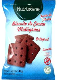 Biscoito de Cacau Multigrãos Sem Glúten Nutripleno 30g