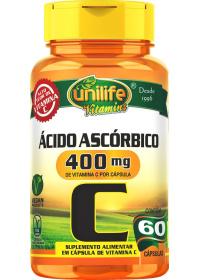 Vitamina C Ácido Ascórbico Unilife 60 cápsulas