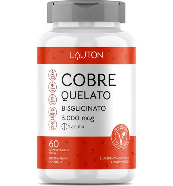 Cobre Quelato Bisglicinato 3000µg Lauton 60 comprimidos
