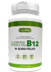 Vitamina B12 Metilcobalamina + Ácido Fólico VeganWay 60 cápsulas