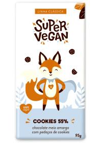Chocolate Meio Amargo C/ Pedaços de Cookies Super Vegan 95g
