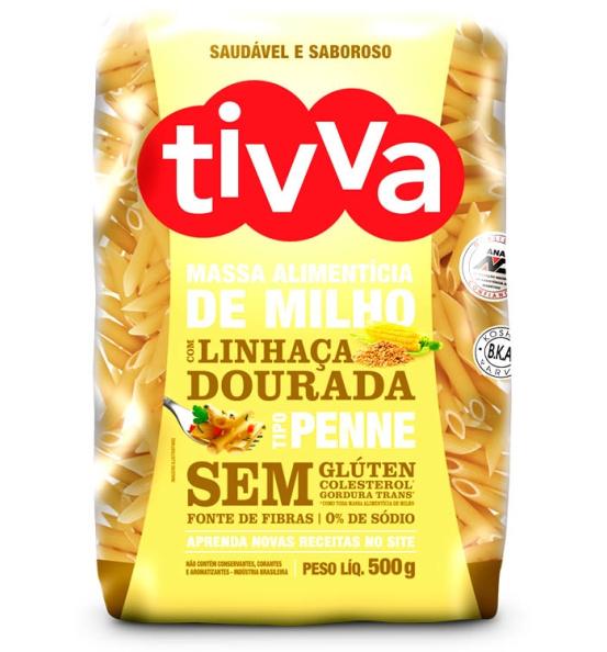 Massa de Milho Penne com Linhaça Dourada Tivva 500g