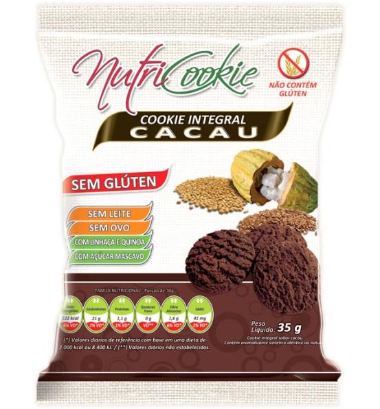 Cookie Integral Cacau Sem Glúten Nutricookie 35g