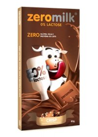 Tablete Chocolate Crisp (Flocos de Arroz) ZeroMilk Genevy 80g
