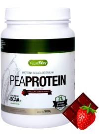 VeganWay - PeaProtein Proteína Isolada de Ervilha Sabor Chocolate com Morango Bionetic 900g