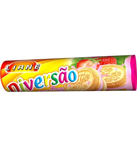 Biscoito Recheado Diversão Morango Liane 115g