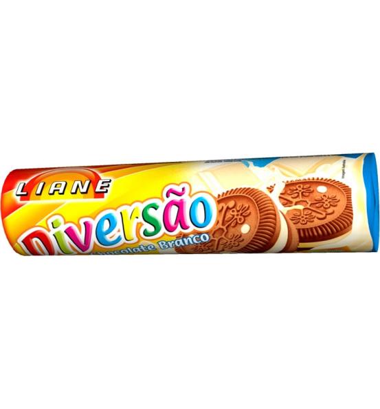 Biscoito Recheado Diversão Sabor Chocolate Branco Liane 115g