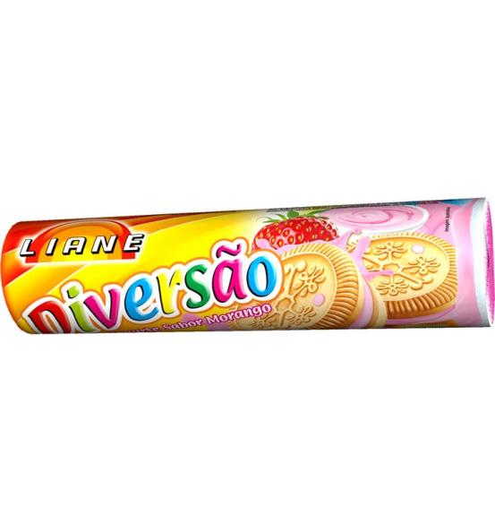 Biscoito Recheado Diversão Sabor Iogurte Morango Liane 115g