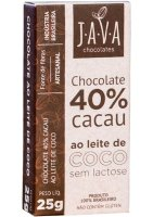 Chocolate 40% Cacau ao Leite de Coco Java Chocolates 25g