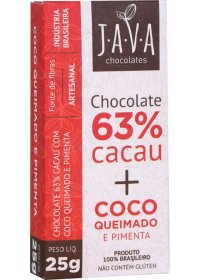 Chocolate 63% Cacau + Coco Queimado e Pimenta Java Chocolates 25g