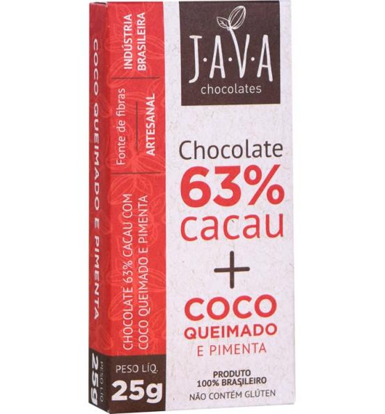 Chocolate 63% Cacau + Coco Queimado e Pimenta Java Chocolates 25g