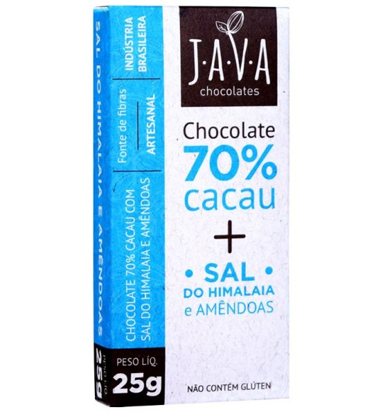 Chocolate 70% Cacau + Sal do Himalaia e Amêndoas Java Chocolates 25g